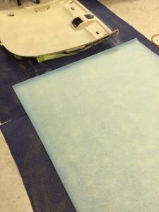 ルーフライニング張替え(天井張替え)3.張り替える生地を準備